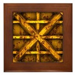 Rusty Shipping Container - yellow Framed Tile