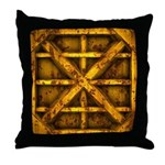Rusty Shipping Container - yellow Throw Pillow