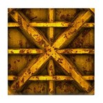 Rusty Shipping Container - yellow Tile Coaster