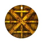 Rusty Shipping Container - yellow Ornament (Round)