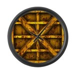 Rusty Shipping Container - yellow Large Wall Clock