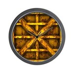 Rusty Shipping Container - yellow Wall Clock