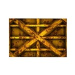 Rusty Shipping Container - yellow Rectangle Magnet