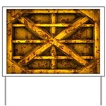 Rusty Shipping Container - yellow Yard Sign