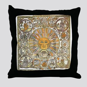 Sun with Faces Throw Pillow