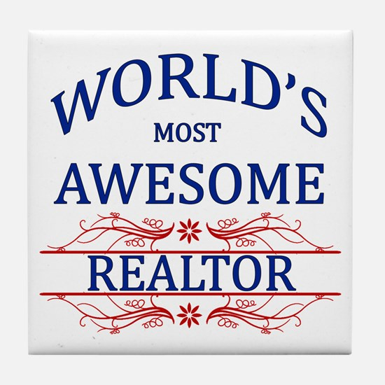 World's Most Awesome Realtor Tile Coaster
