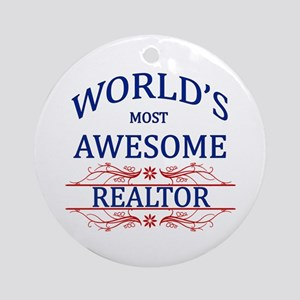 World's Most Awesome Realtor Ornament (Round)