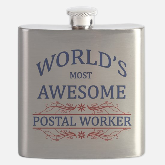 World's Most Awesome Postal Worker Flask