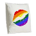 Rainbow Lips Burlap Throw Pillow