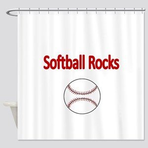 SOFTBALL ROCKS Shower Curtain