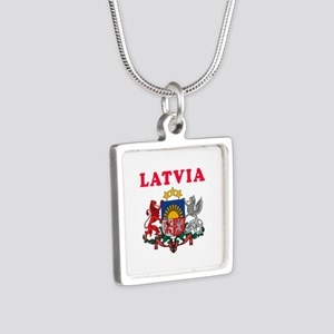 Latvia Coat Of Arms Designs Silver Square Necklace