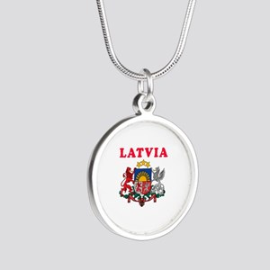 Latvia Coat Of Arms Designs Silver Round Necklace