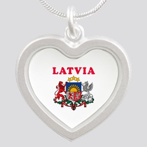 Latvia Coat Of Arms Designs Silver Heart Necklace
