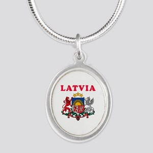 Latvia Coat Of Arms Designs Silver Oval Necklace