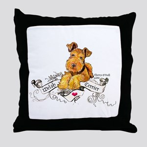 Welsh Terrier World Throw Pillow