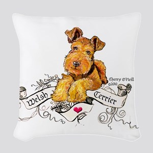 Welsh Terrier World Woven Throw Pillow