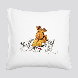 Welsh Terrier World Square Canvas Pillow