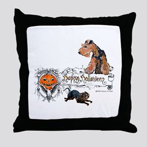Welsh Terrier Halloween Throw Pillow