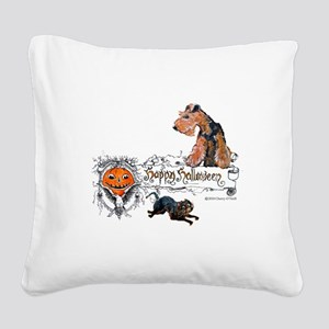 Welsh Terrier Halloween Square Canvas Pillow