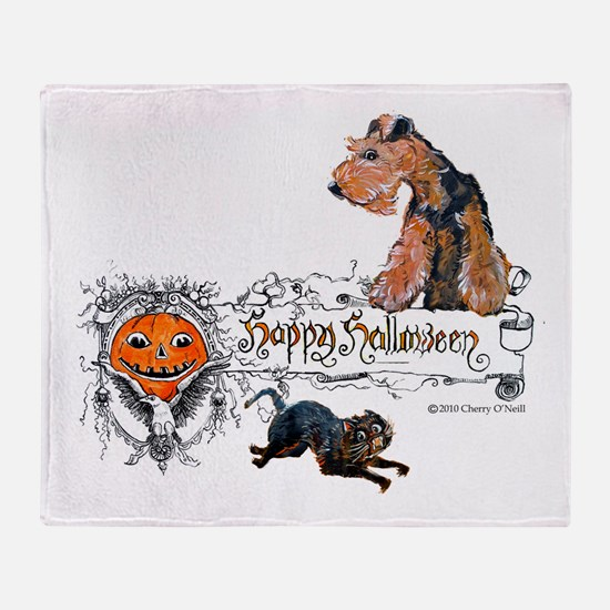 Welsh Terrier Halloween Throw Blanket