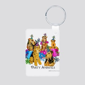 Welsh Terrier Party Aluminum Photo Keychain