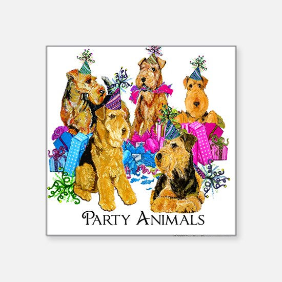 "Welsh Terrier Party Square Sticker 3"" x 3"""