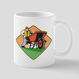 Gardener Pushing Wheelbarrow Retro Mug
