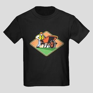 Gardener Pushing Wheelbarrow Retro T-Shirt