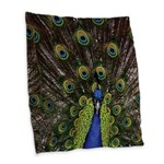 Peacock Burlap Throw Pillow