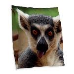 Lemur Burlap Throw Pillow