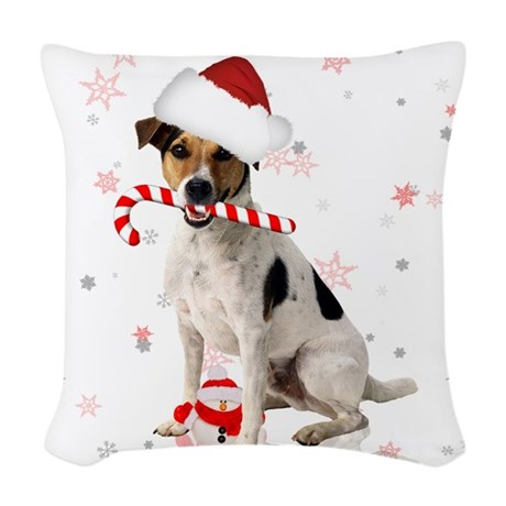 Jack Russell Christmas Holiday Woven Throw Pillow