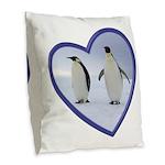 Emperor Penguins Burlap Throw Pillow