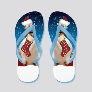 Puffin Christmas Holiday With Snow Flip Flops