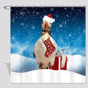 Puffin Christmas Holiday With Snow Shower Curtain