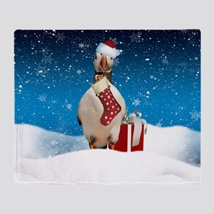 Puffin Christmas Holiday With Snow Throw Blanket