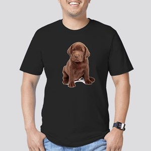 Chocolate Labrador Puppy Men's Fitted T-Shirt (dar