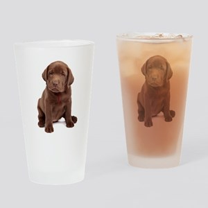Chocolate Labrador Puppy Drinking Glass