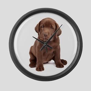 Chocolate Labrador Puppy Large Wall Clock