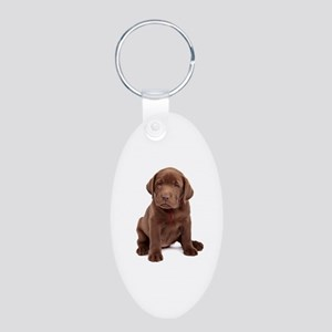 Chocolate Labrador Puppy Aluminum Oval Keychain