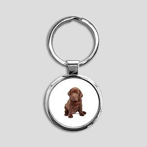 Chocolate Labrador Puppy Round Keychain