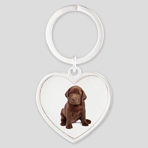 Chocolate Labrador Puppy Heart Keychain