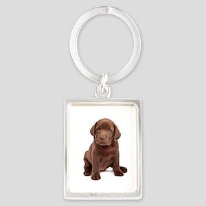 Chocolate Labrador Puppy Portrait Keychain