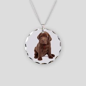 Chocolate Labrador Puppy Necklace Circle Charm