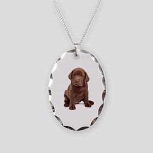 Chocolate Labrador Puppy Necklace Oval Charm