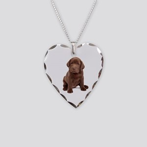 Chocolate Labrador Puppy Necklace Heart Charm