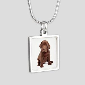 Chocolate Labrador Puppy Silver Square Necklace