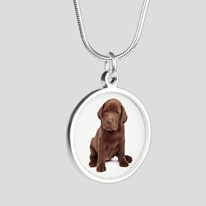 Chocolate Labrador Puppy Silver Round Necklace