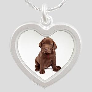 Chocolate Labrador Puppy Silver Heart Necklace