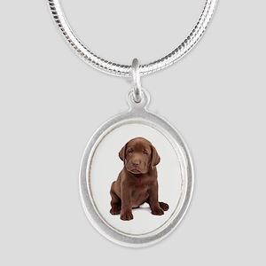 Chocolate Labrador Puppy Silver Oval Necklace