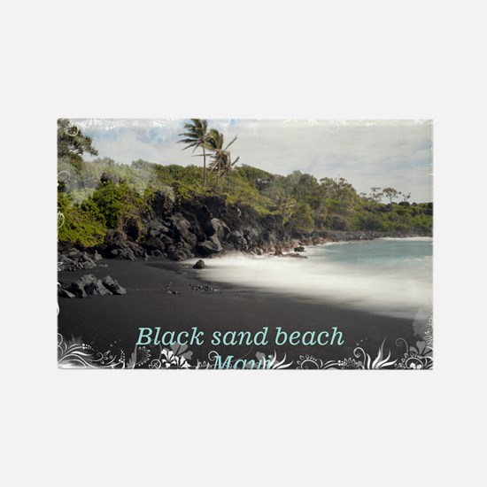 Black sand beach Rectangle Magnet